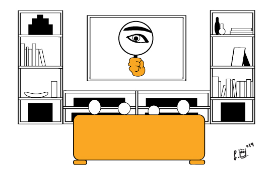 "Image is of a family watching a Smart TV. On the TV is an eye with a magnifying glass in front of it, as if to say, ""I'm watching you."""